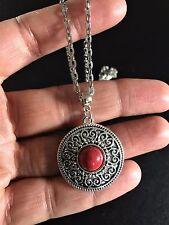 Necklace Silver Red Hippie Bohemian Surf Ethnic Boho Tribal Gypsy N1044