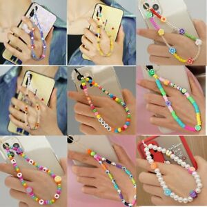 Acrylic Beads Chain Cell Phone Lanyard Mobile Phone Straps Soft Pottery Rope Hot