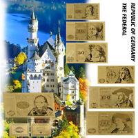 WR 1980 Alt 5,10,20,50,100, 500,1000 Deutsche Mark Geldscheine Gold Banknote Set