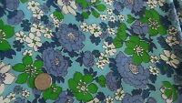 """Vintage Cotton Fabric SHADES OF BLUE,WHITE,GREEN FLORAL ON BLUE 1 Yd/35"""""""