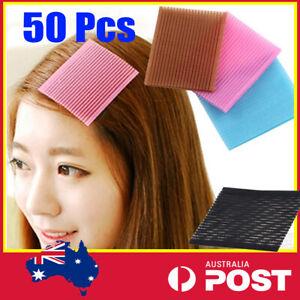50 pcs Hair Magic Grip Pad Fringe Bangs Paste Stick Holder Tape Makeup Wash AU