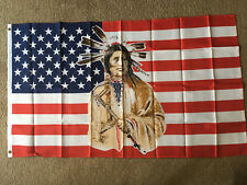 Usa Indian flag 3 X 5 ft. polyester 2 Grommet holes one side