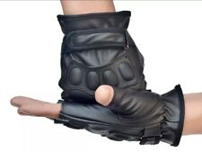 Weight Training Outdoor Fitness Racing Sport Leather Gloves Fingerless Large New