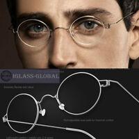 Oval Titanium Vintage Ultralight Men Women Eyeglasses Frame  -No screw design 8g