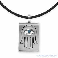 Hamsa Hand of Fatima Evil Eye Luck Charm Stainless Steel Pendant Rubber Necklace