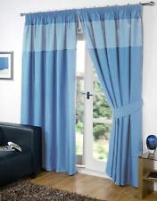 Blue Pair of Kids Gingham 66'' x 72'' Pencil Pleat Thermal Blackout Curtains