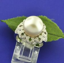 18k Solid White Gold  Natural White South Sea Pearl & Diamond Ring 12mm Cocktail