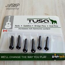 6 CHEVILLES TUSQ PP-2122 Black White dot GRAPH TECH ACOUSTIC GUITAR BRIDGE PINS