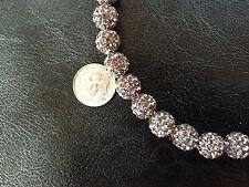 24 pcs Stunning Sparkly Smoky Gray Rhinestone Overlay 10mm Round Beads
