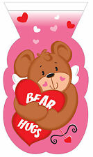 12 x Valentines Zipper Seal Teddy Bear Heart Loot Bags Party treat favour bags
