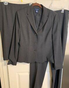Ann Taylor Charcoal Gray 3 piece Pant Suit Jacket Blazer Pants Skirt 14