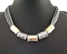 Modern Light Grey Cords  Hammered Antiqued Silver and Gold Tubes Necklace