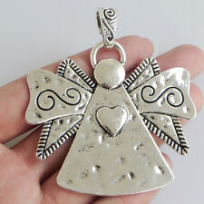 Large Antique Silver Angel Charms Necklace Pendants Jewelry Findings 63*59mm