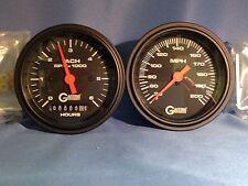 "Gaffrig 3 3/8"" Mechanical Speedo & Tach6/Hour Meter Black Inboard Only"