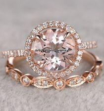 150 ct morganite diamond 14k rose gold engagement wedding bridal ring set - Morganite Wedding Ring Set