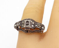 925 Sterling Silver - Vintage Marcasite Decorated Wavy Band Ring Sz 8.5 - R17552