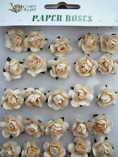 Adhesive Cream Paper Roses Flowers Card Making NEW
