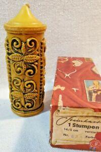 Vintage German Carved Embossed Gold Wax Pillar Candle Original Box Never Lit