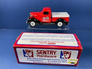 1995, Spec-Cast,1937 SENTRY Hardware Chevy Pick-Up Truck Bank w/ Tonneau Cover