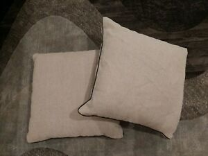 Pottery Barn Tan Beige Linen Pillows 24x24 Set of 2