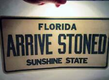 NOS Vtg Iron On Heat Transfer 70s Florida Sunshine State License Arrive Stoned