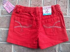 Star Ride Red Denim Shorts 4T Rhinestones Silver Embroidery Stretch Snap Button