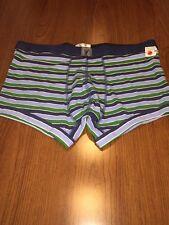 Roebuck & Co Sears Green Blue Striped Boxer Trunk Briefs Underwear Men's Large