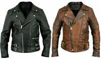 MENS BRANDO VINTAGE CLASSIC MOTORCYCLE BLACK / BROWN REAL LEATHER BIKER JACKET