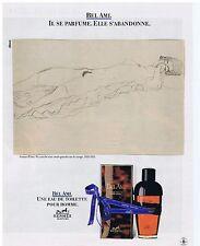 PUBLICITE ADVERTISING 104 1987 HERMES Bel Ami eau de toilette pour homme