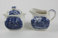 Set Liberty Blue China Paul Revere Creamer Betsy Ross Sugarbowl Colonial England