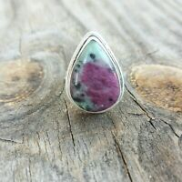 RUBY IN ZOISITE NATURAL GEMSTONE RING 925 STERLING SILVER JEWELRY RING 4 TO 12