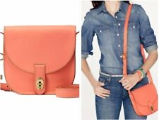FOSSIL AUSTIN LEATHER FLAP SHOULDER CROSSBODY BAG HANDBAG CITRUS HOT CORAL NEW
