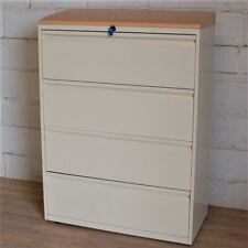 BISLEY Lateral 4dwr Filing Cabinet Cupboard Unit Cream Beech Storage Office