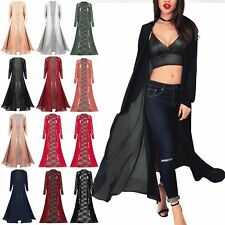 Ladies Womens Full Chiffon Front Open Floaty Cardigan Flare Coat Maxi Jacket Top