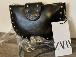ZARA STUDDED OVAL CROSSBODY BAG black new with tags