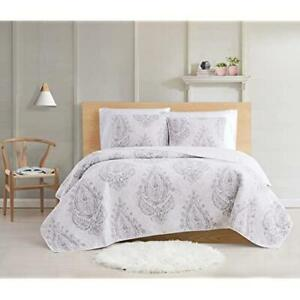 Cottage Classics Paisley Blossom 3 Piece Full / Queen Quilt Set White/Grey $140