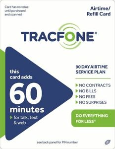 TracFone 60 Refill -- 60 Minutes/90 Days  NEW 90 days added new IMMEDIATE