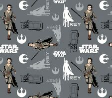 STAR WARS - THE FORCE AWAKENS - Rey - Grey - Fabric - 1/2 Yard