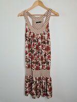 Nichii Drop Waist Floral Dress Women's Size M Natural Tones Sleeveless Racerback