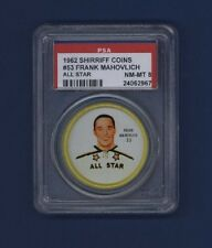 1962-63 Shirriff Coins Frank Mahovlich #53 Graded PSA 8 NM-MT ALL-STAR COIN !!