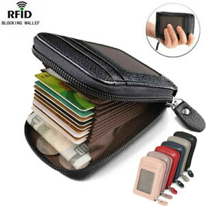 RFID Blocking Leather Wallet Anti-theft Secure Credit Card Holder for Men Women
