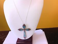 Navajo Santa Fe Style Turquoise/Coral Chips Inlay LARGE Cross SS Pendant.BUY NOW