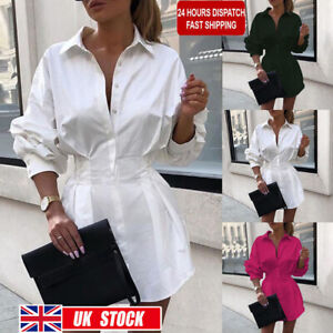 Womens Long Sleeve Shirt Dress Mini Dress OL Ladies Casual Tops Shirt Blouse Tee