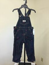OSH KOSH B'GOSH INFANT GIRLS DENIM HEART PRINTED OVERALLS 24 MONTHS NWT $38