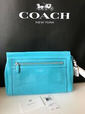 NWT Coach Legacy Perforated Leather Clutch Wristlet in Robin & Chalk! 49001