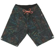 LULULEMON Swim Board Shorts Black with Colorful Squiggles Men's size 32 - 9379