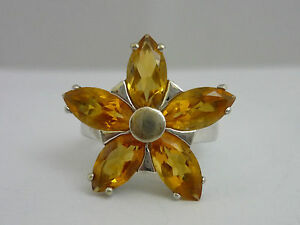 Stunning, Large & Unusual Citrine & 9k White Gold Ring Size L 1/2 - Certified
