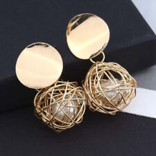 Fashion Women Gold Plated Round Pearl Charm Dangle Drop Earrings Stud Jewelry