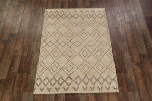 Geometric Moroccan Trellis Oriental Hand-Knotted Beige/Brown 5'x8' Wool Area Rug
