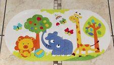 New Non slip PVC bath shower mat kids fun Jungle Animals on white